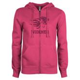 ENZA Ladies Fuchsia Fleece Full Zip Hoodie-Primary Mascot Hot Pink Glitter