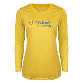 Ladies Syntrel Performance Gold Longsleeve Shirt-Primary Mark with Shield