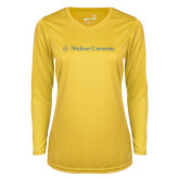Ladies Syntrel Performance Gold Longsleeve Shirt-Primary Mark with Shield Flat
