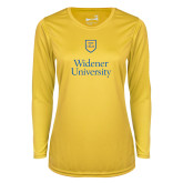 Ladies Syntrel Performance Gold Longsleeve Shirt-Stacked University Mark
