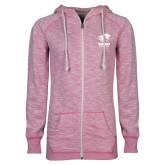 ENZA Ladies Hot Pink Marled Full Zip Hoodie-Widener Athletics