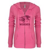 ENZA Ladies Hot Pink Light Weight Fleece Full Zip Hoodie-Primary Mascot Hot Pink Glitter