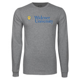 Grey Long Sleeve T Shirt-Primary Mark with Shield