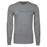 Grey Long Sleeve T Shirt-Primary Mark with Shield Flat