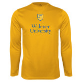 Syntrel Performance Gold Longsleeve Shirt-Stacked University Mark