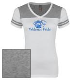 Ladies White/Heathered Grey Juniors Varsity V Neck Tee-Widener Pride