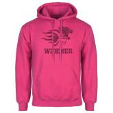 Fuchsia Fleece Hoodie-Primary Mascot Hot Pink Glitter