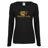 Ladies Black Long Sleeve V Neck T Shirt-Widener Pride