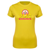Ladies Syntrel Performance Gold Tee-PMC Stacked