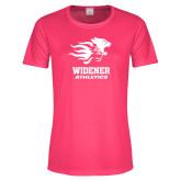 Ladies Performance Hot Pink Tee-Widener Athletics
