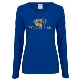 Ladies Royal Long Sleeve V Neck T Shirt-Widener Pride