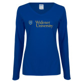 Ladies Royal Long Sleeve V Neck Tee-Primary Mark with Shield