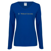 Ladies Royal Long Sleeve V Neck Tee-Primary Mark with Shield Flat