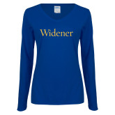 Ladies Royal Long Sleeve V Neck T Shirt-Widener