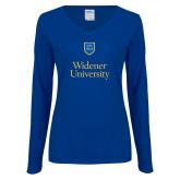 Ladies Royal Long Sleeve V Neck T Shirt-Stacked University Mark