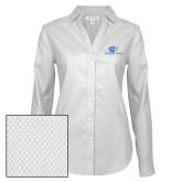 Ladies Red House Diamond Dobby White Long Sleeve Shirt-Widener Pride