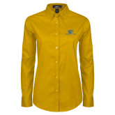 Ladies Gold Twill Button Down Long Sleeve-Widener Pride