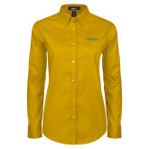 Ladies Gold Twill Button Down Long Sleeve-Widener
