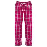 Ladies Dark Fuchsia/White Flannel Pajama Pant-Widener Athletics