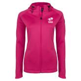 Ladies Tech Fleece Full Zip Hot Pink Hooded Jacket-Widener Athletics