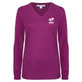 Ladies Deep Berry V Neck Sweater-Widener Athletics