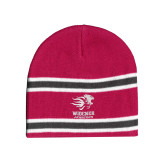 Pink/Charcoal/White Striped Knit Beanie-Widener Athletics