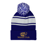 Royal/White Two Tone Knit Pom Beanie with Cuff-Widener Pride