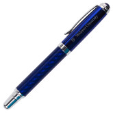 Carbon Fiber Blue Rollerball Pen-Primary Mark with Shield Flat Engraved