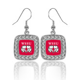 Crystal Studded Square Pendant Silver Dangle Earrings-WSSU Ram