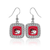 Crystal Studded Square Pendant Silver Dangle Earrings-Ram Head