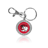 Crystal Studded Round Key Chain-Ram Head