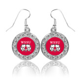 Crystal Studded Round Pendant Silver Dangle Earrings-WSSU Ram