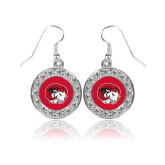 Crystal Studded Round Pendant Silver Dangle Earrings-Ram Head