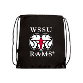 Nylon Black Drawstring Backpack-Stacked WSSU Rams