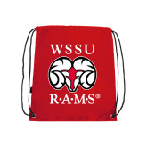 Nylon Red Drawstring Backpack-Stacked WSSU Rams