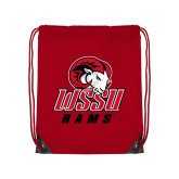 Red Drawstring Backpack-WSSU Rams
