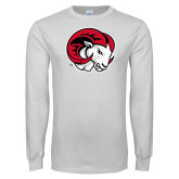 White Long Sleeve T Shirt-Ram Head