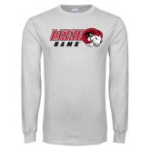 White Long Sleeve T Shirt-WSSU Rams Horizontal