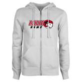 ENZA Ladies White Fleece Full Zip Hoodie-WSSU Rams Horizontal