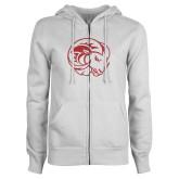 ENZA Ladies White Fleece Full Zip Hoodie-N Red Glitter