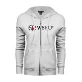 ENZA Ladies White Fleece Full Zip Hoodie-Ram WSSU