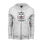 ENZA Ladies White Fleece Full Zip Hoodie-Stacked WSSU Rams