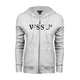 ENZA Ladies White Fleece Full Zip Hoodie-WSSU Flat