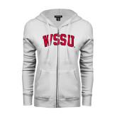 ENZA Ladies White Fleece Full Zip Hoodie-Arched WSSU