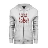 ENZA Ladies White Fleece Full Zip Hoodie-WSSU Ram