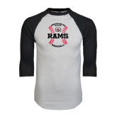 White/Black Raglan Baseball T-Shirt-Baseball Seams
