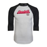White/Black Raglan Baseball T-Shirt-Baseball Script