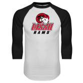 White/Black Raglan Baseball T Shirt-WSSU Rams