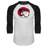 White/Black Raglan Baseball T Shirt-Ram Head