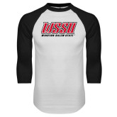 White/Black Raglan Baseball T Shirt-WSSU Rams Stacked